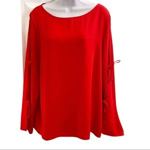 Kaileigh Red Tie Cold Sleeve Top